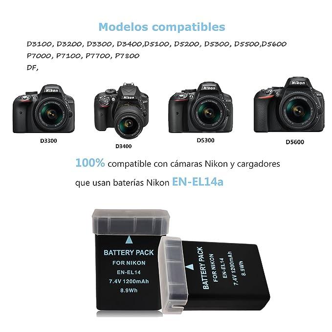 BPS 2X EN-EL14 EN-EL14a Baterías + USB Cargador de Batería para Nikon D3100 D3200 D3300 D5100 D5200 D5300 D5500 D3S, Coolpix P7000 P7100 P7700 P7800 ...