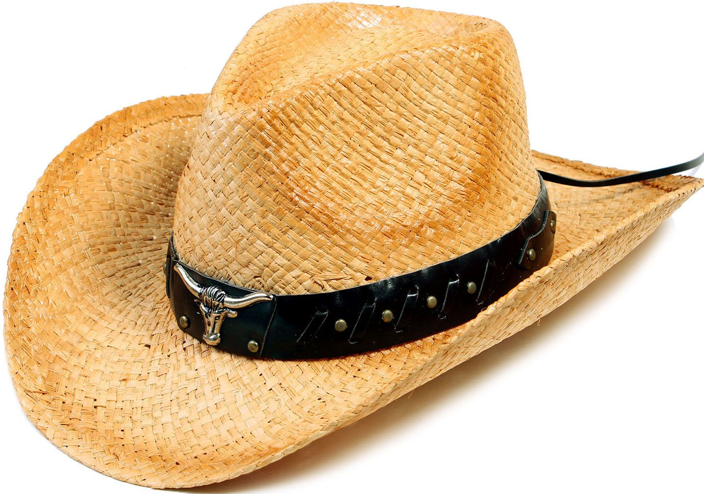 YoungLove Men and Women Costume Straw Cowboy Hat with Decor,Nature_Bull by YoungLove (Image #1)