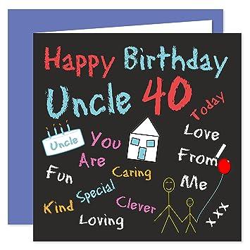Uncle 40th Happy Birthday Card Black Board Birthdays Design 40