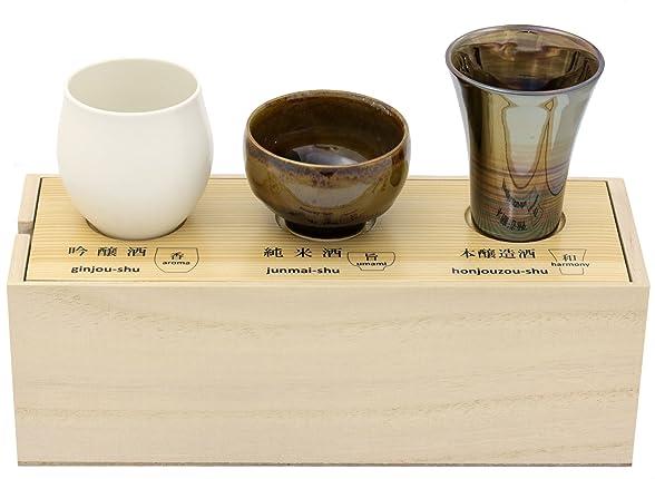 感器工房 日本酒 呑みくらべ 杯セット (木箱入) 62682