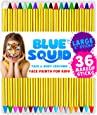 "Face Paint Crayons for Kids, by Blue Squid, 36 Jumbo 3.25"" Face & Body Painting Makeup Crayons, Safe for Sensitive Skin, 8 Metallic & 28 Classic Colors, Great for Birthday"