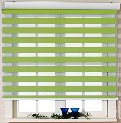 Foiresoft Custom Cut To Size Winsharp Basic Green W 67 X H 82 Inch Zebra Roller Blinds Dual Layer Shades Sheer Or Privacy Light Control Day