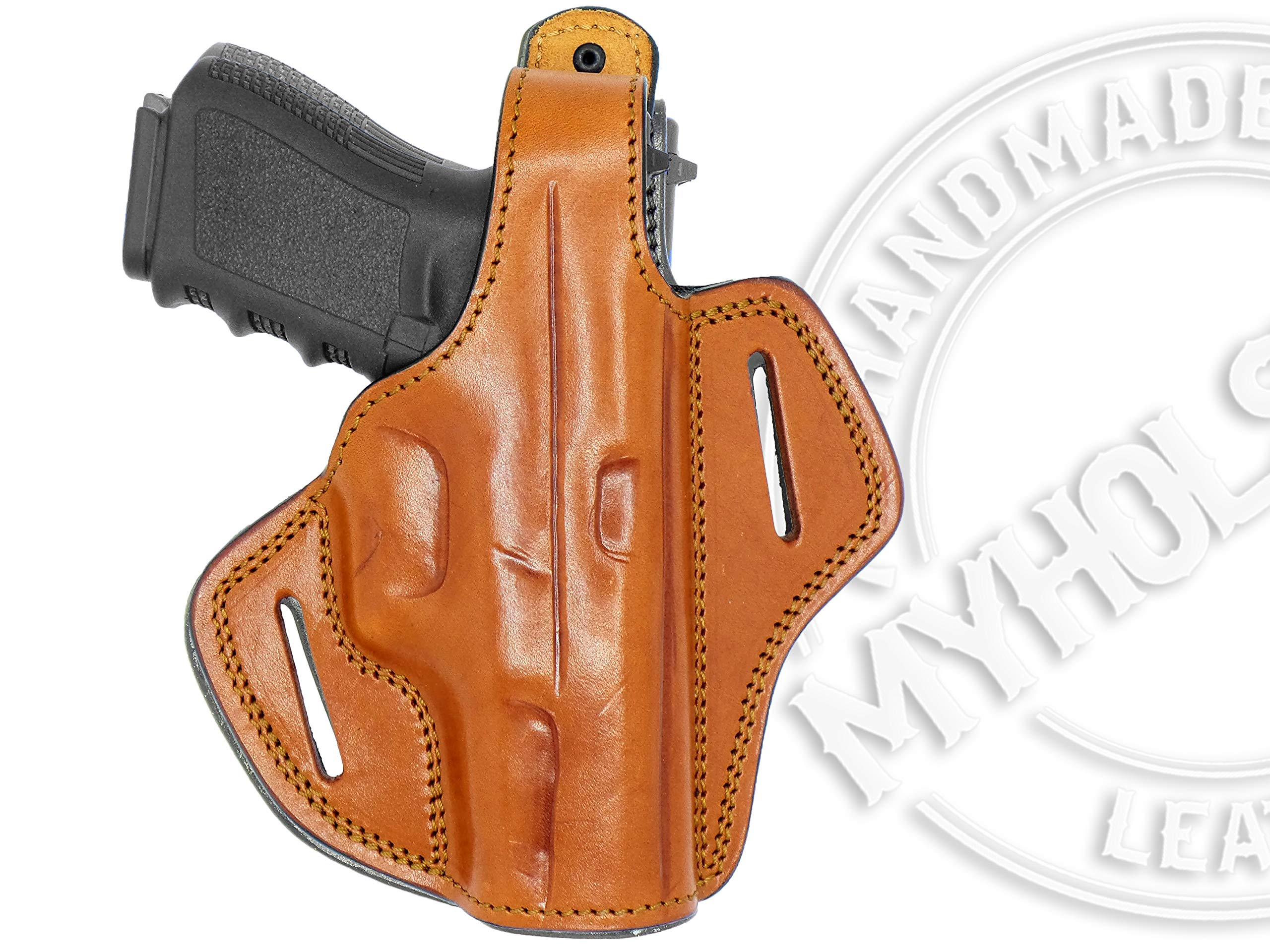MyHolster Right Hand OWB Leather Gun Holster for Belts fits Smith & Wesson Model 5906 & Similar Frames (Brown) by My Holster