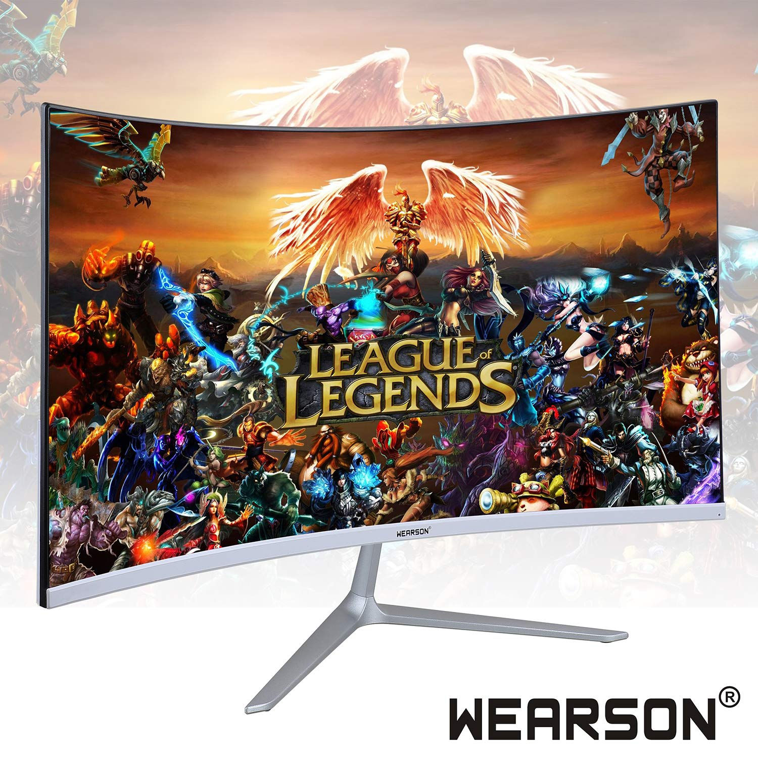 Wearson 23.8 inch Ultra Thin 5mm Curved Widescreen LCD Gaming Monitor HDMI VGA Input 2ms Response WS238H