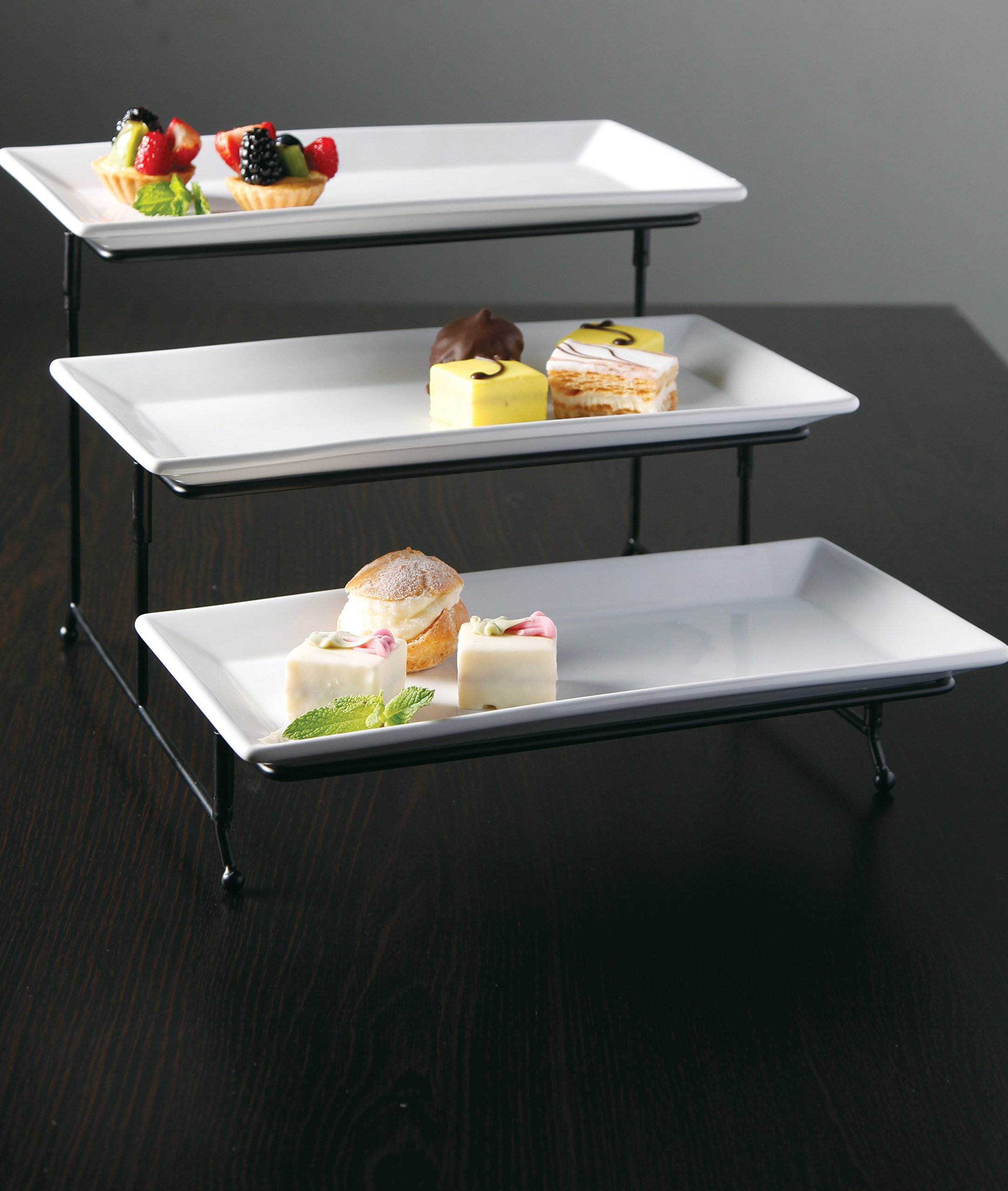 Gibson Elite 102157.04RM Gracious Dining Three Tier Rectangle Plate Set Ware with Metal Stand, White