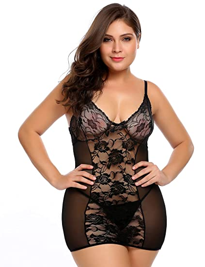 662985adb Avidlove Plus Size Women s Sexy Lingerie Stretch Mesh Lace Chemise and Thong  Set at Amazon Women s Clothing store