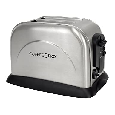 Coffee Pro CFPOG8073 2 Slice Toaster with Crumb Tray, and Electronic Heat Control, Stainless