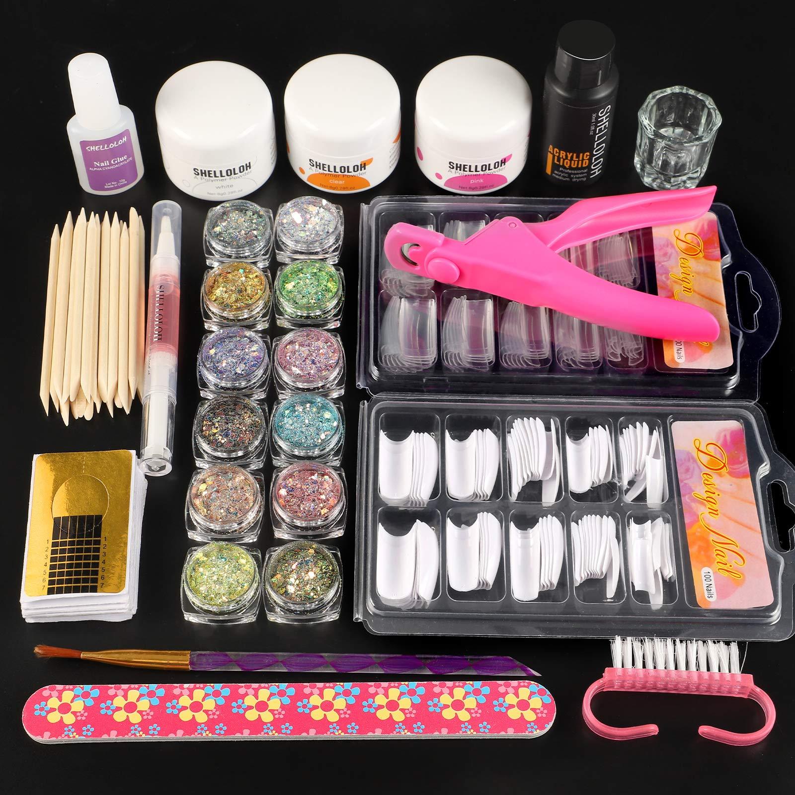 Acrylic Nail Kit-3 Pcs Acrylic Powder with Acrylic Liquid Monomer Glitter Gel
