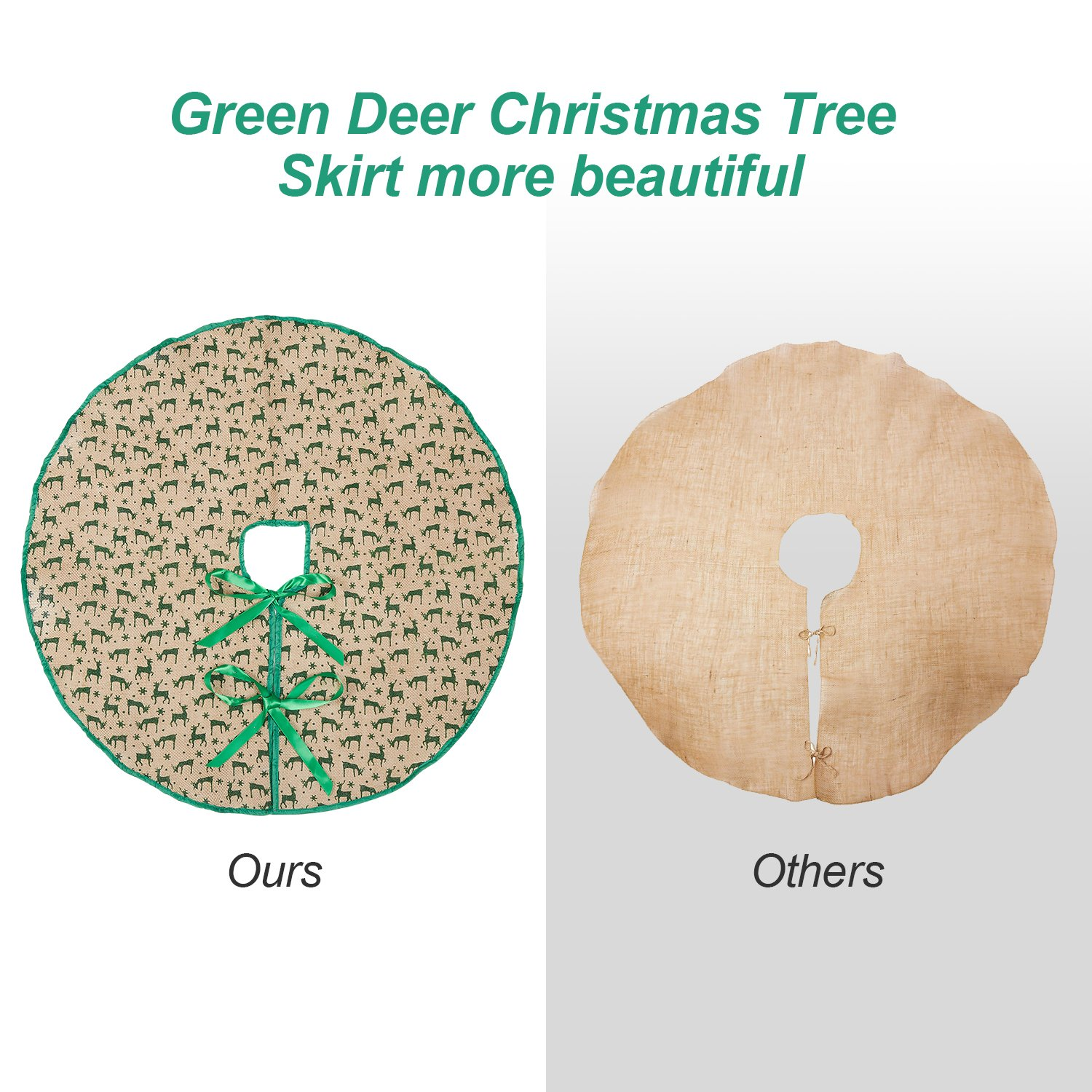 Marry Acting 30 Burlap Christmas Tree Skirt Green Deers with Trim Tree Mat for Xmas Party Home Decoration A59L0-DW