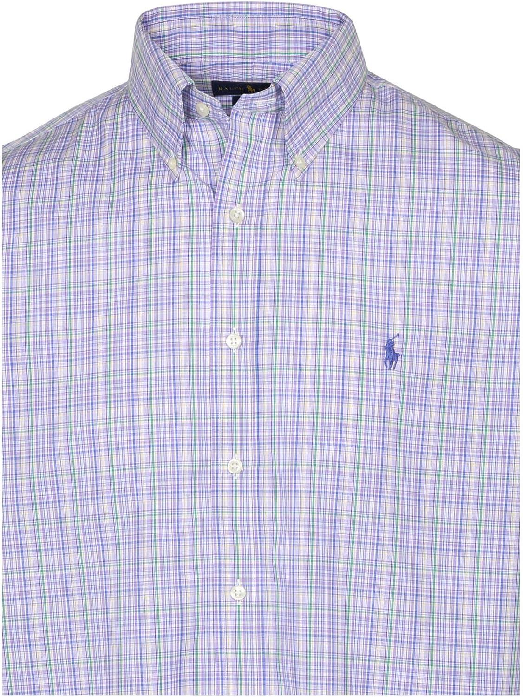 Ralph Lauren Polo Mens Slim Easy Care Pony Logo Spread Shirt Blue//White New