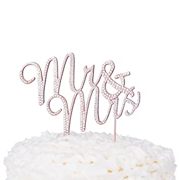 Mr Mrs Hochzeit Cake Topper Strass Monogramm Dekoration Amazon