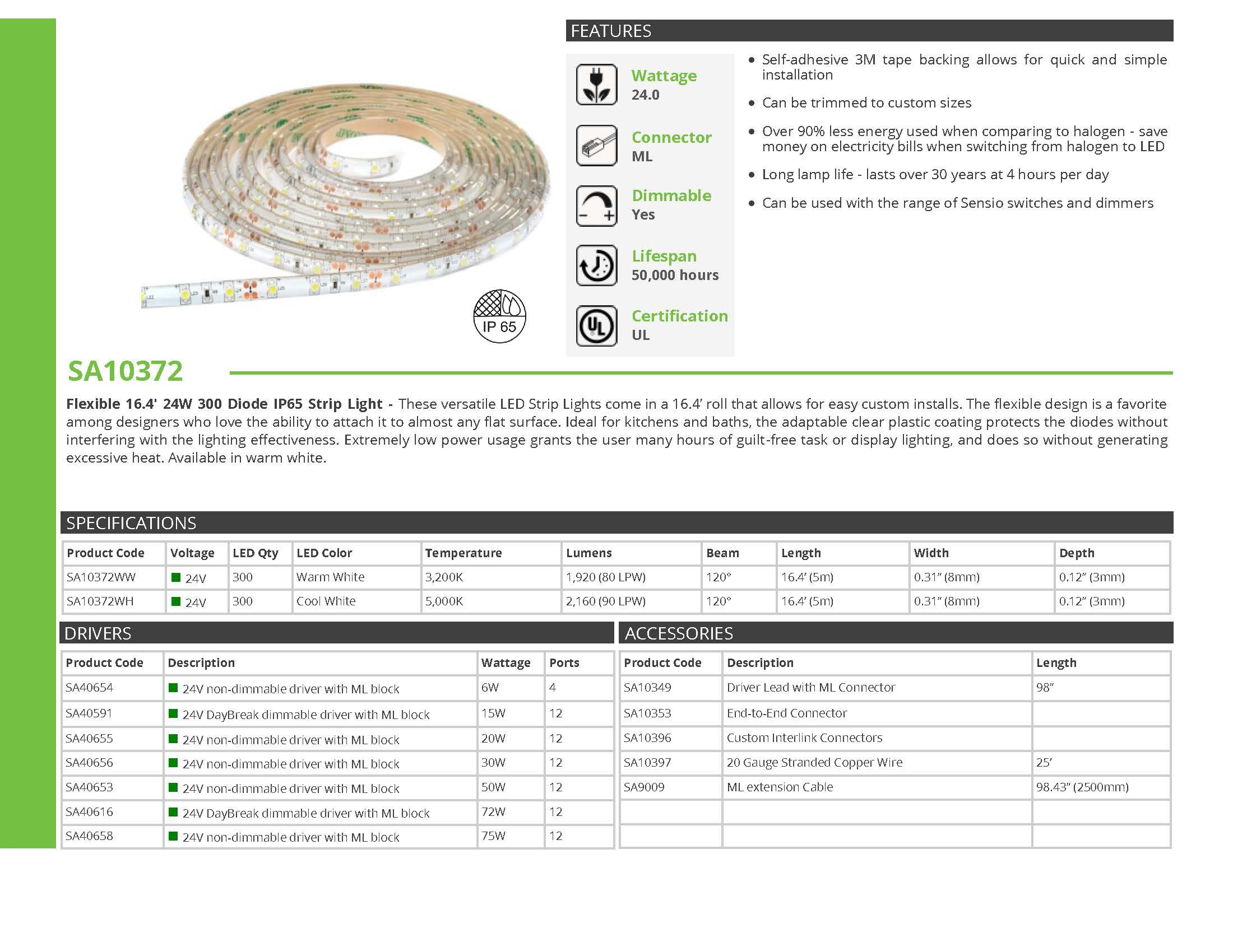 Transolid SA10372WH Sensio LED 24V 24W 300D Ip65 Flexible Strip Light, 196.85'', Warm White