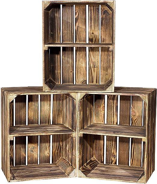 Vinterior Juego de 3 Massive Caja de Estante Zapatos Fruta (cajón-estantería/50 cm x 40 cm x 31 cm/Fruta Cajas de Vino Caja de Madera Decorativa – Estantería para Cajas (gefla MMT Horizontal):