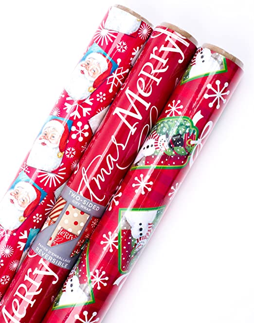 Pack of 3; 120 sq. ft. ttl. Kraft and Red Dots Christmas Wrapping Paper Bundle