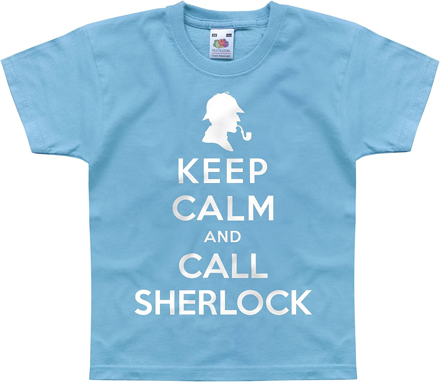 Nutees Keep Calm and Call Sherlock Holmes Unisex Kids T Shirts Ages 1-14 Years
