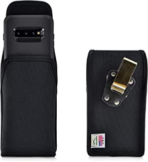 product image for Turtleback Belt Clip Case Designed for Galaxy S10+ Plus Fits with OB Defender, Vertical Holster Black Nylon Pouch with Heavy Duty Rotating Belt Clip, Made in USA