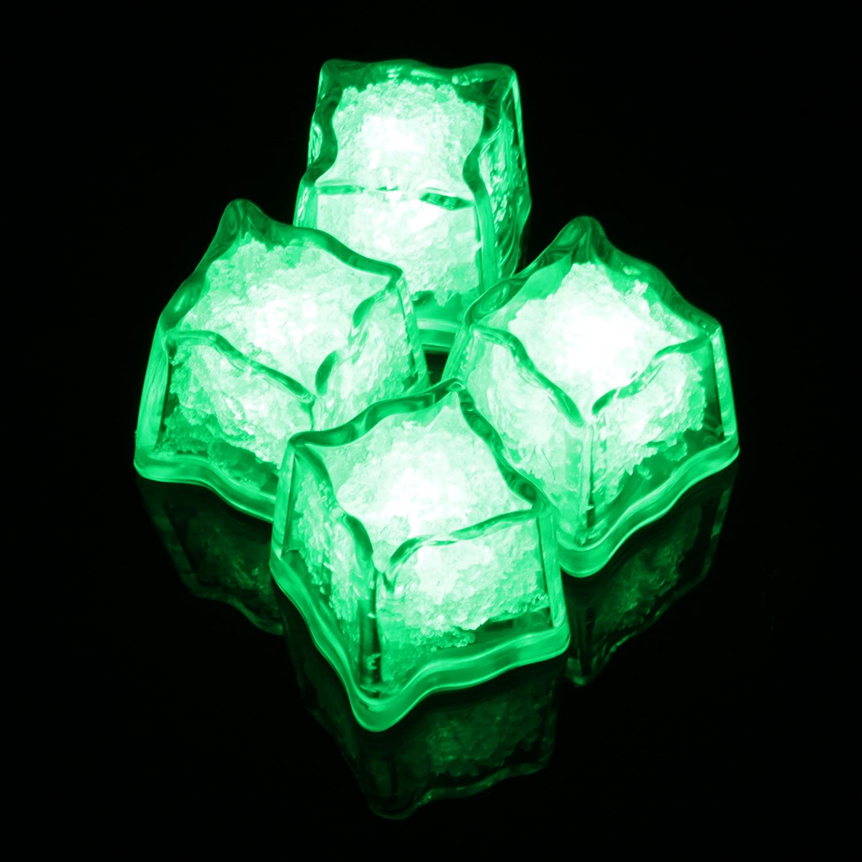 LED-Highlights Deko Eisw/ürfel leuchtend blinkend im 4er Set gr/ün Party Licht Kunststoff W/ürfel wasserdicht mit Batterie