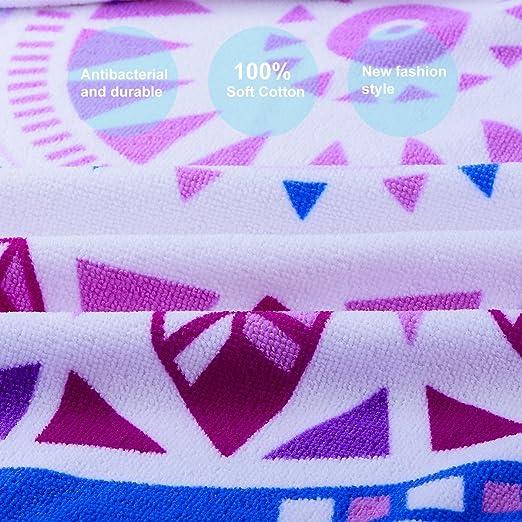 Toalla de playa redonda ultra gruesa con borlas de franja de 150 CM - varios diseños y colores, toalla de playa de círculo / mandala Yoga Mat / paño de mesa ...