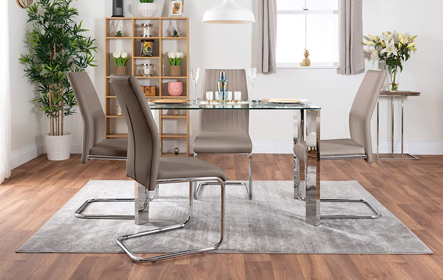 Dining Table Only Furniturebox UK Lucia 4 Clear Glass And Chrome Metal Modern Stylish Dining Table And 4 Stylish Lorenzo Dining Chairs Set