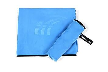 gimnasio Deporte Set de 2 azules: grande para ba/ño viaje peque/ño para cuerpo y cara Ultra playa Juego de toallas de microfibra absorbentes ligeras funda de transporte de secado r/ápido