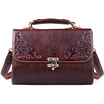 Jack Chris Small Vintage Satchel Leather Handbags Floral Purse Top Handle Crossbody  Bag for Women e843fa5295