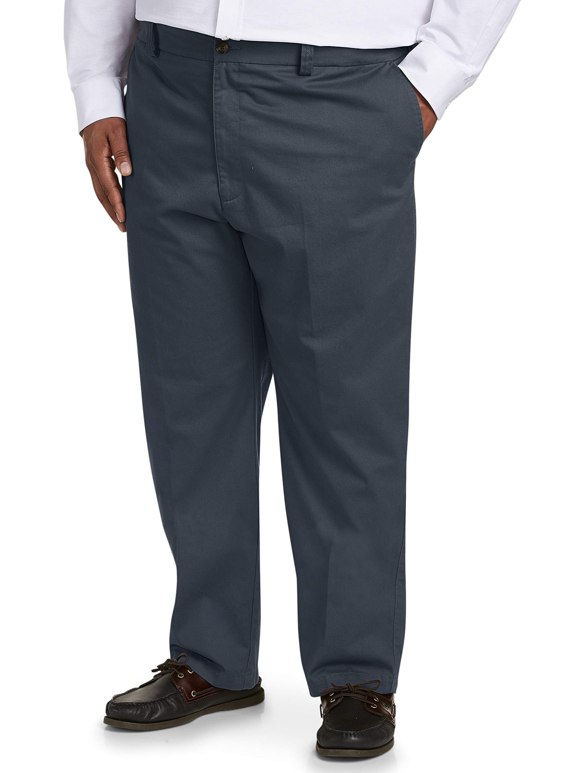 Amazon Essentials Men's Big & Tall Relaxed-fit Wrinkle-Resistant Flat-Front Chino Pant fit by DXL, Navy 44W x 32L
