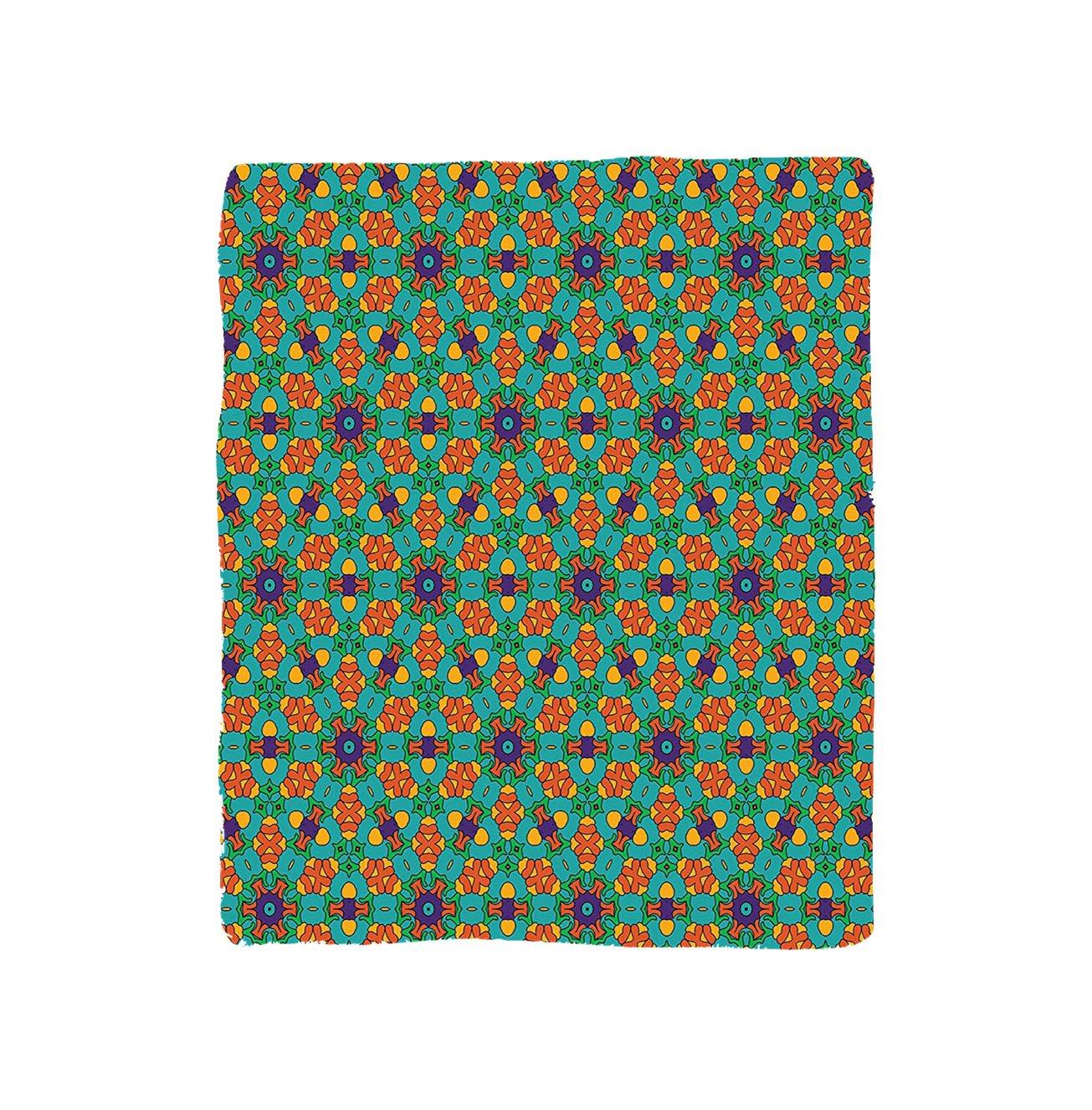 VROSELV Custom Blanket Orange Living Room for India Ethnic Design Lovers Floral Print Bedroom Living Room Dorm Fern Green Marigold and Navy Blue