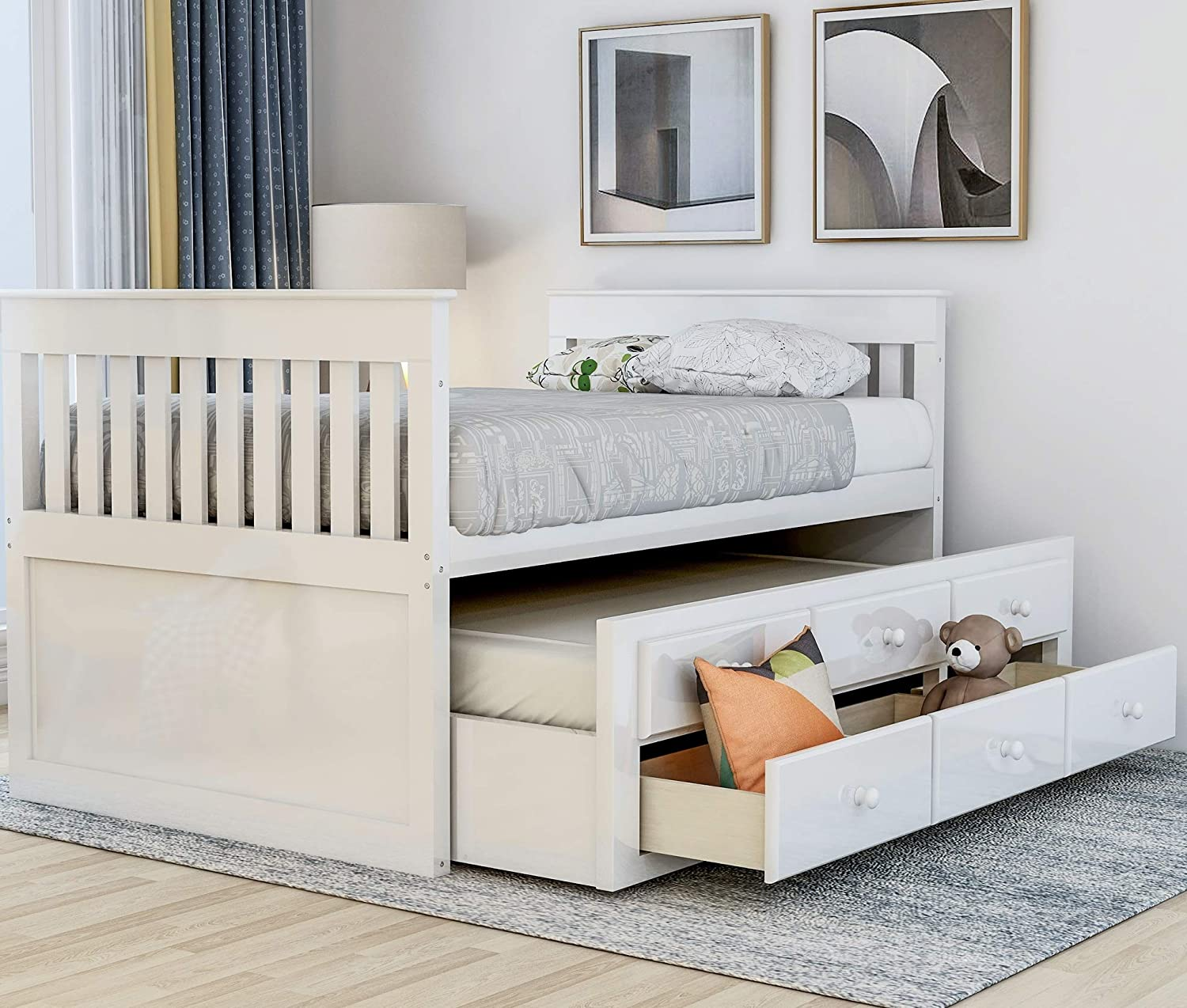 Twin Captain s Bed Storage daybed with Trundle and Drawers for Kids Guests White