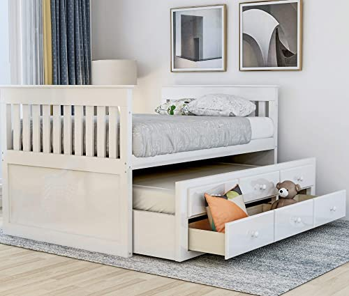 Twin Captain's Bed Storage daybed with Trundle and Drawers for Kids Guests White