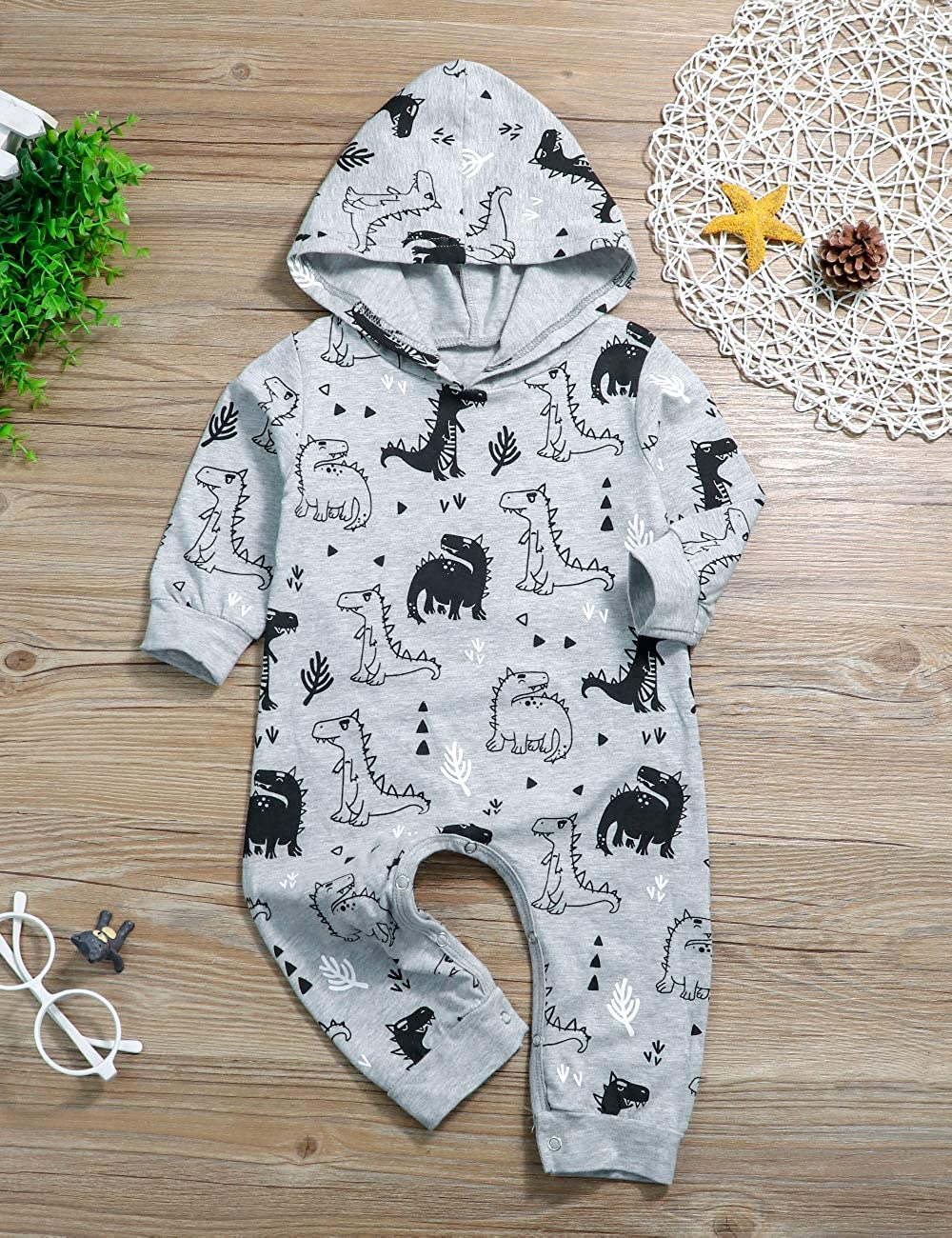 Toddler Baby Boys Clothes Dinosaurs Print Cotton Romper Newborn Long Sleeve Jumpsuit One Pieces Pajamas Playsuit