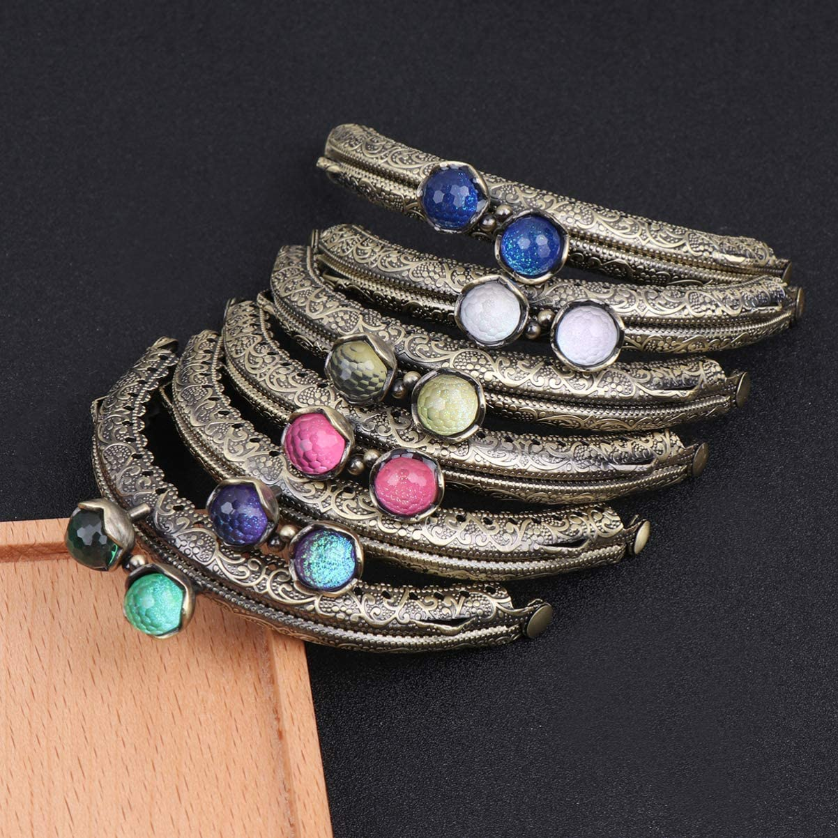 Healifty Metal Purse Frame Coin Bag Kiss Clasp Lock Semicircle Handbag Handle for Bag Making DIY Craft 8.5cm 6pcs