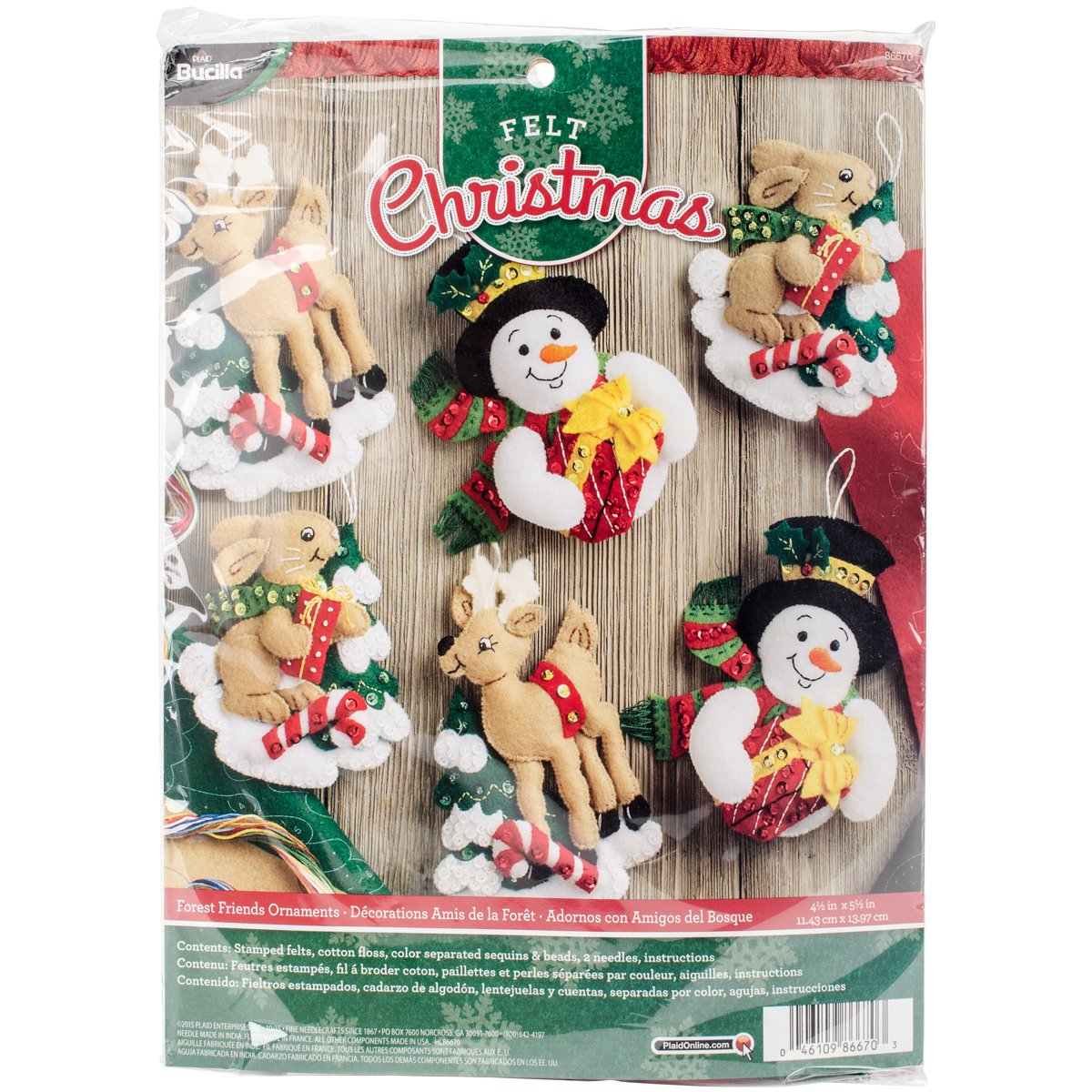 Bucilla Felt Applique Ornament Kit 86157 Candy Express Set of 6
