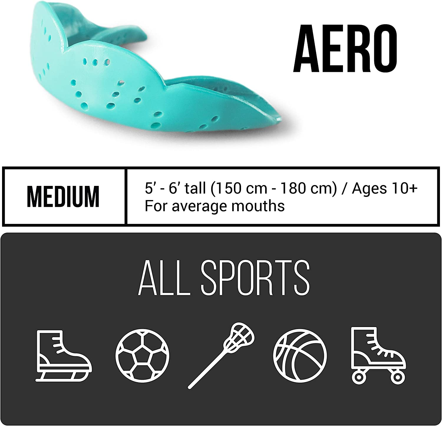 SISU Mouth Guards Aero 1.6mm Custom Fit Sports Mouthguard for Youth/Adults, Charcoal Black, Medium : Sports & Outdoors