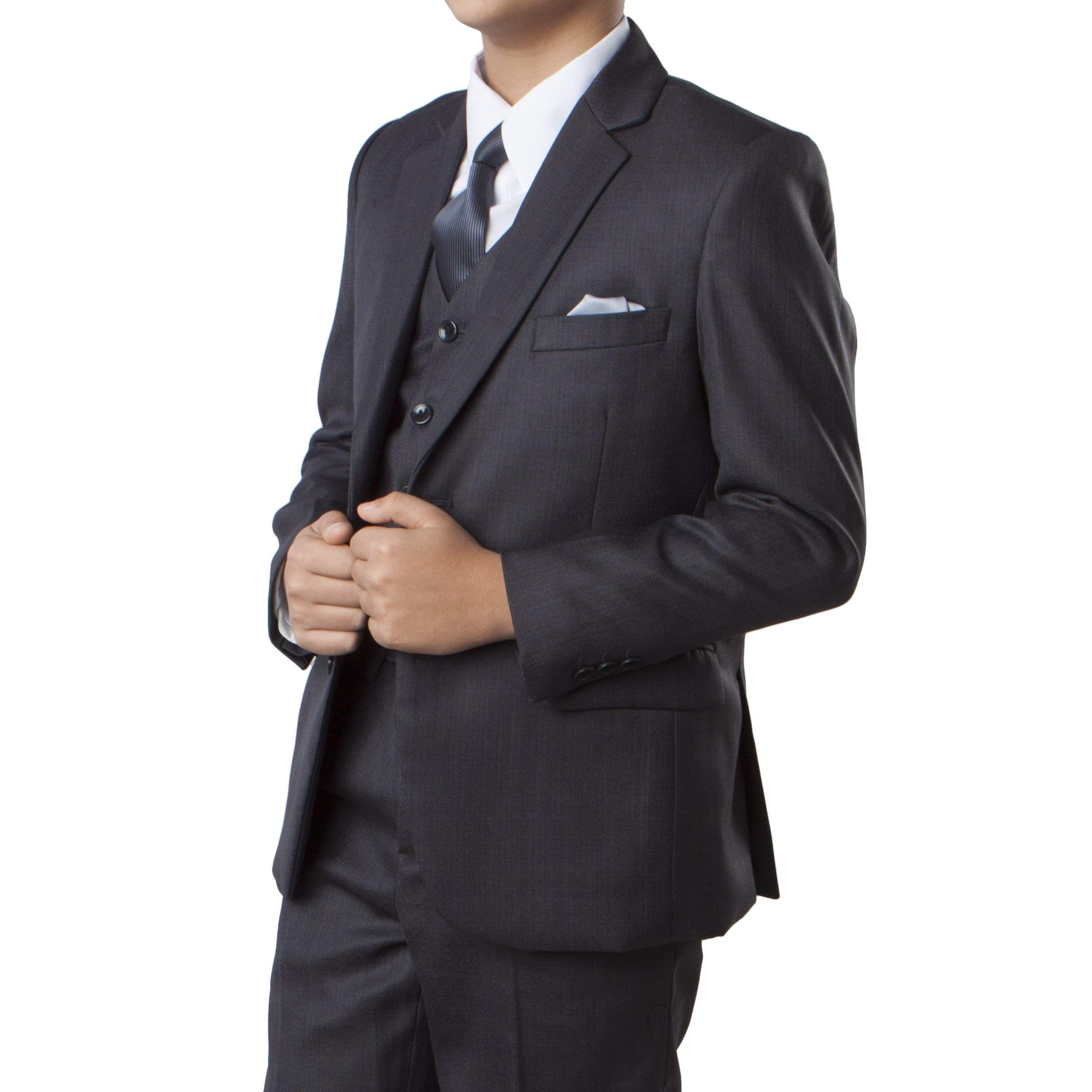 TAZIO Boys 3 Piece Solid Suit Set With Matching Shirt & Tie (12,Grey)