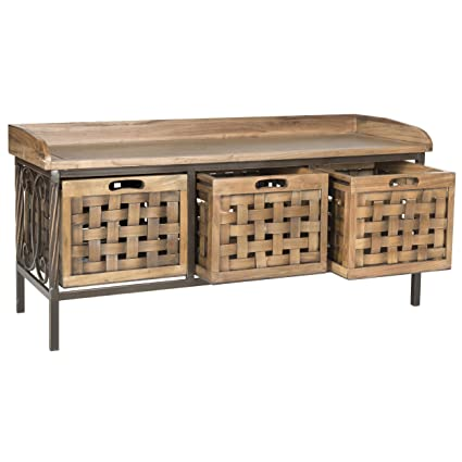 Safavieh American Homes Collection Isaac Oak Wooden Storage Bench