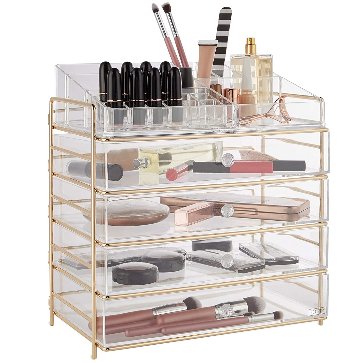 Beautify Large 5 Tier Clear Acrylic Cosmetic Makeup Storage Cube Organizer with 4 Drawers, Upper Compartment with Champagne Gold Frame - H14.4 x L13.5 x ...