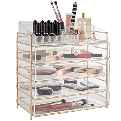 2b34b34f1956 Beautify Large 5 Tier Clear Acrylic Cosmetic Makeup Storage Cube Organizer  with 4 Drawers, Upper Compartment with Champagne Gold Frame - H14.4 x L13.5  ...