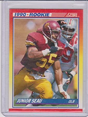 1990 Score Junior Seau Chargers Rookie Football Card 302 At