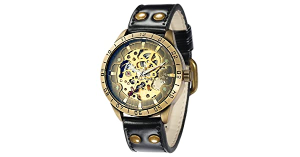 f13edab2d Carrie Hughes Men's Steampunk Automatic Watches Skeleton Mechanical  Stainless Steel Waterproof Watch (CH9383)