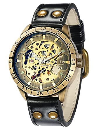 3e179ca9b Carrie Hughes Men's Bronze Steampunk Skeleton Automatic Mechanical  Stainless Steel Leather Watch (CH9383)
