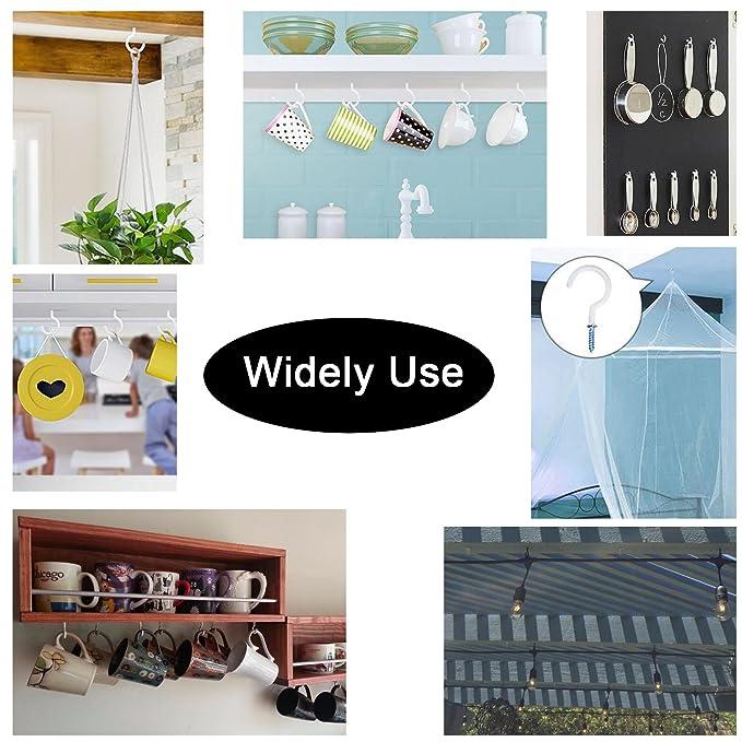 Enthur - Ganchos de techo de 5 cm, ganchos para colgar plantas, tazas de cocina, utensilios de cocina, campanas de viento para uso interior y exterior, ...
