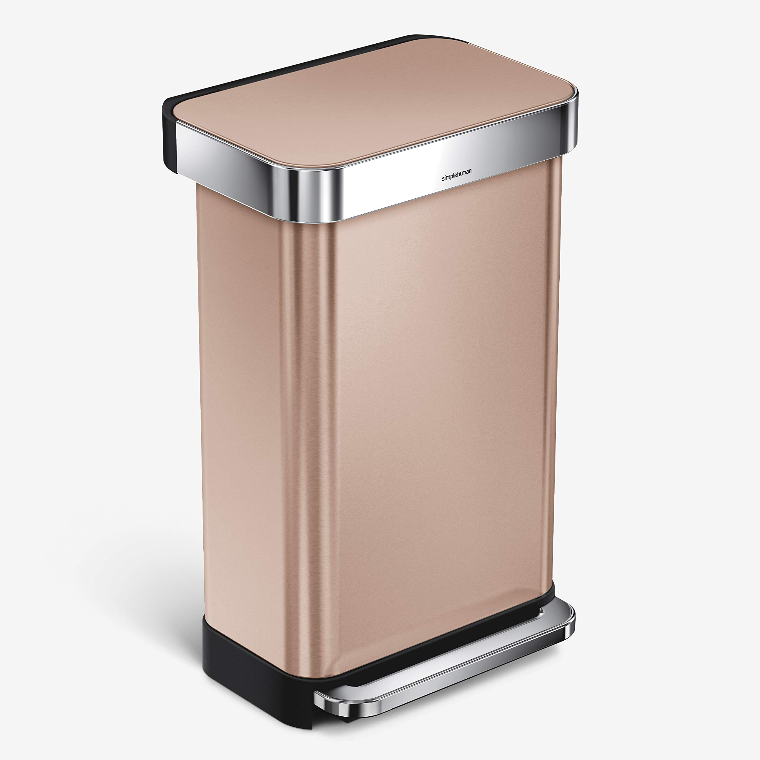 simplehuman 45 Liter Rectangular Hands-Free Kitchen Step Trash Can with Soft-Close Lid, Rose Gold Stainless Steel