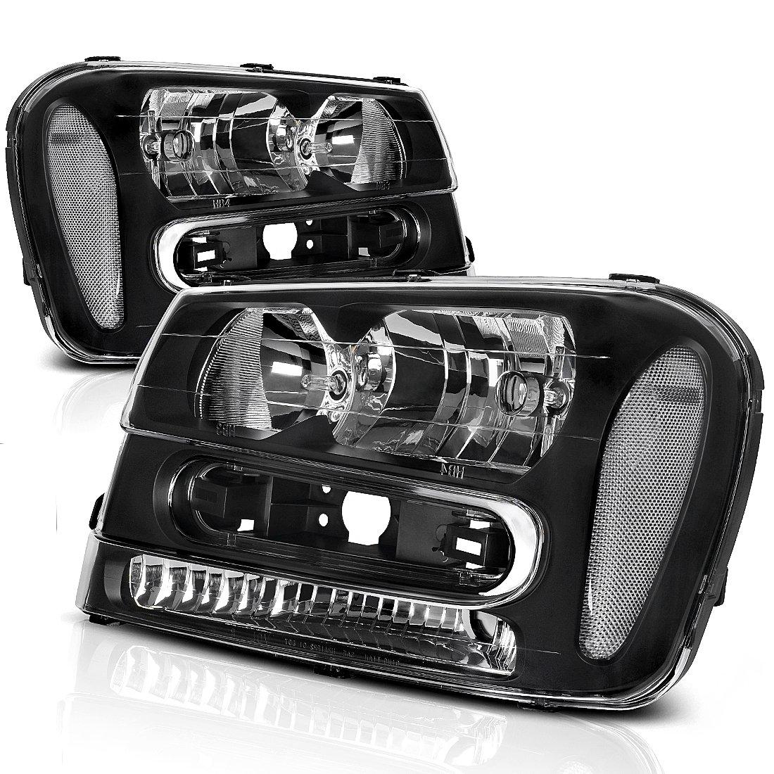 Headlight Assembly for 2002 2003 2004 2005 2006 2007 2008 2009 Chevy Chevrolet Trailblazer Replacement Black Housing Headlamp,One-Year Warranty (W/Full Width Grille, Pair) AUTOSAVER88 Chevy Trailblazer 2002-2009