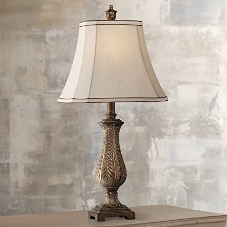 Traditional Table Lamp Old Oak Antique Petite Vase Beige Rectangular Shade  for Living Room Family Bedroom Bedside - Regency Hill