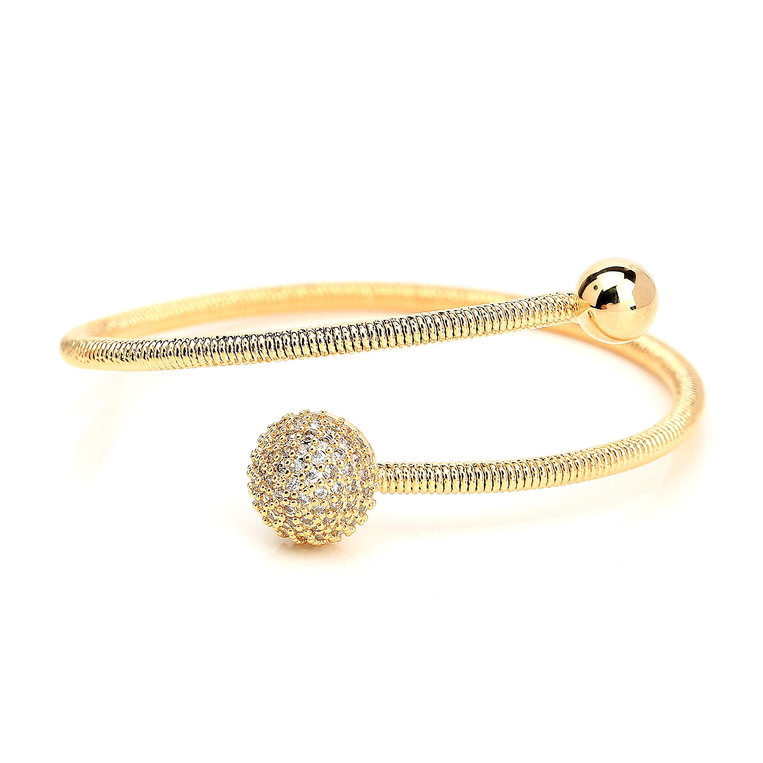 United Elegance Stylish Designer Wrap Bangle Bracelet with Sparkling Swarovski Style Crystals