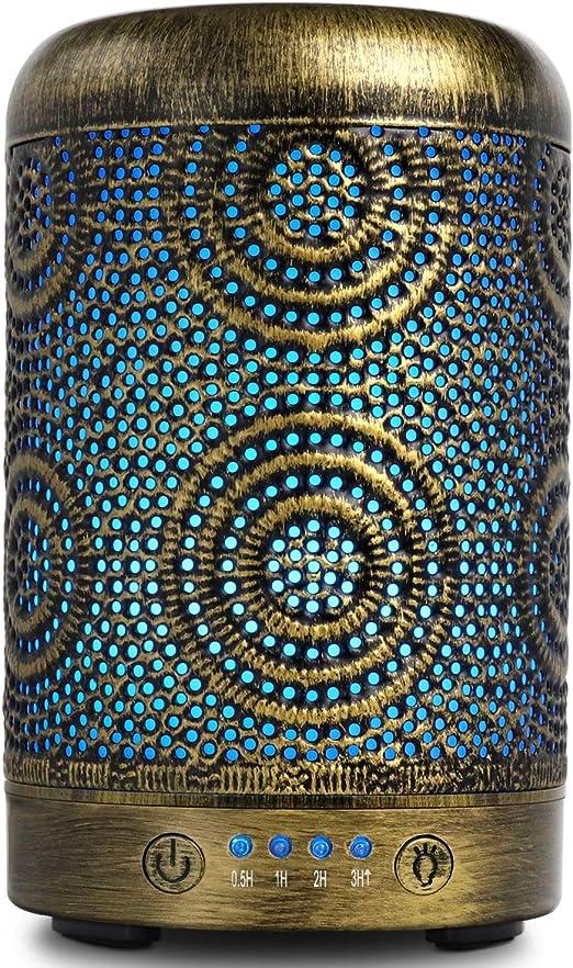 Humidificador Aceites Esenciales,SALKING 100ml Difusor de Aromaterapia, Humidificador Ultrasónico con LED de 7 colores y 4 Temporizadores de para Aromaterapia en el Hogar,Oficina,Spa, Yoga,Masaje,Bebé