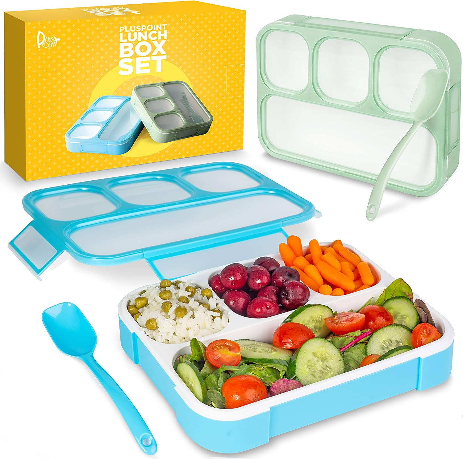 Bento Lunch Box Container For Kids and adults, 2 Leakproof Food & Meal Prep storage With 4 Compartments + Cutlery Perfect For Healthy Food & Snacks BPA Free Microwave Dishwasher Safe - PLUSPOINT