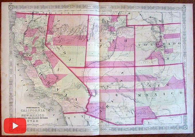 Amazon.com: Western U.S. California AZ Colorado NV UT NM 1864 ...