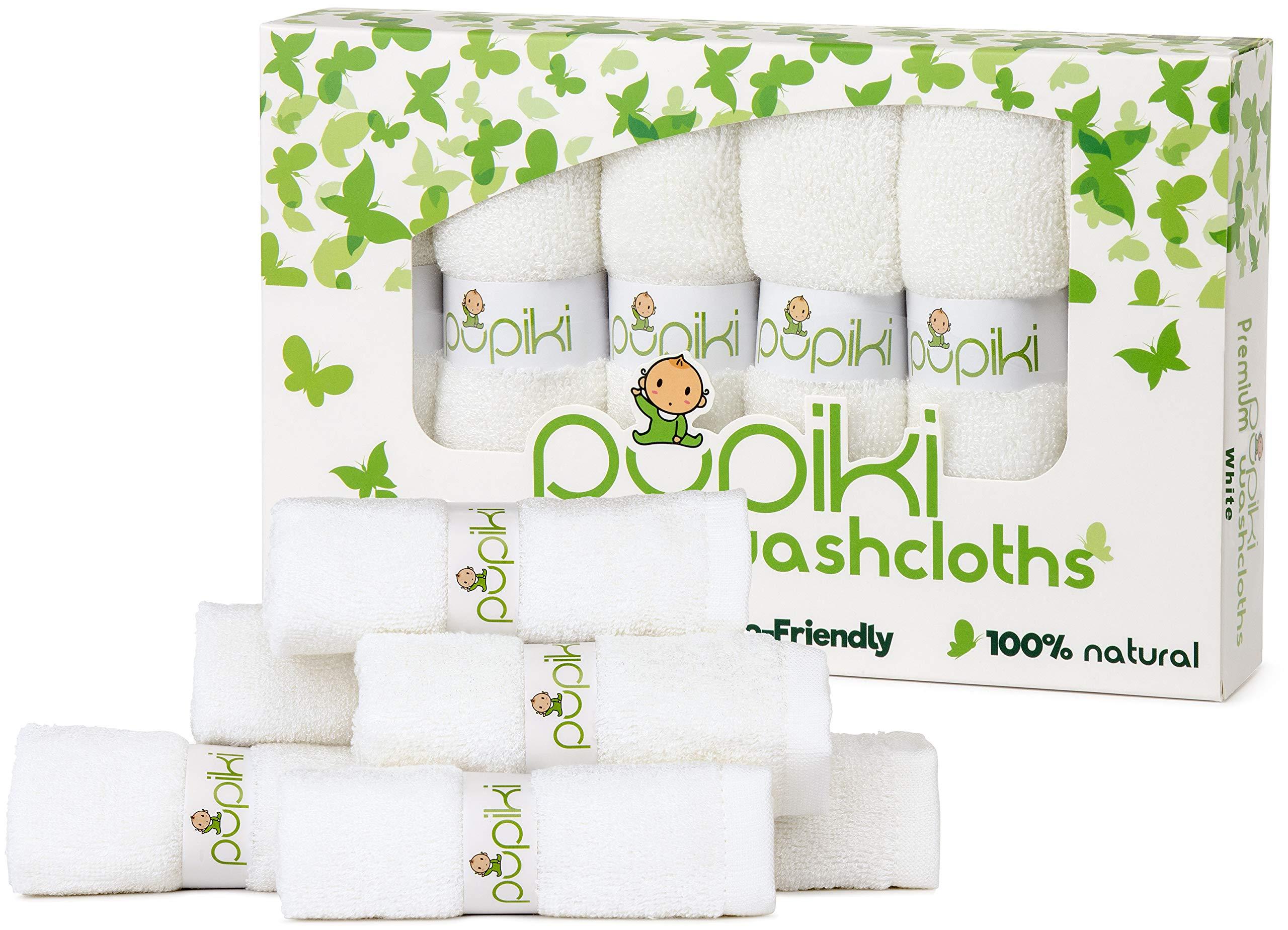 Baby Washcloths - 6 Pack Ultra Soft Organic Bamboo Washcloths, Hypoallergenic Washcloths Baby, Top Baby Shower Gift, 10''X10'' Newborn Baby Washcloth, Bonus Wash Bag (White) by PUPIKI