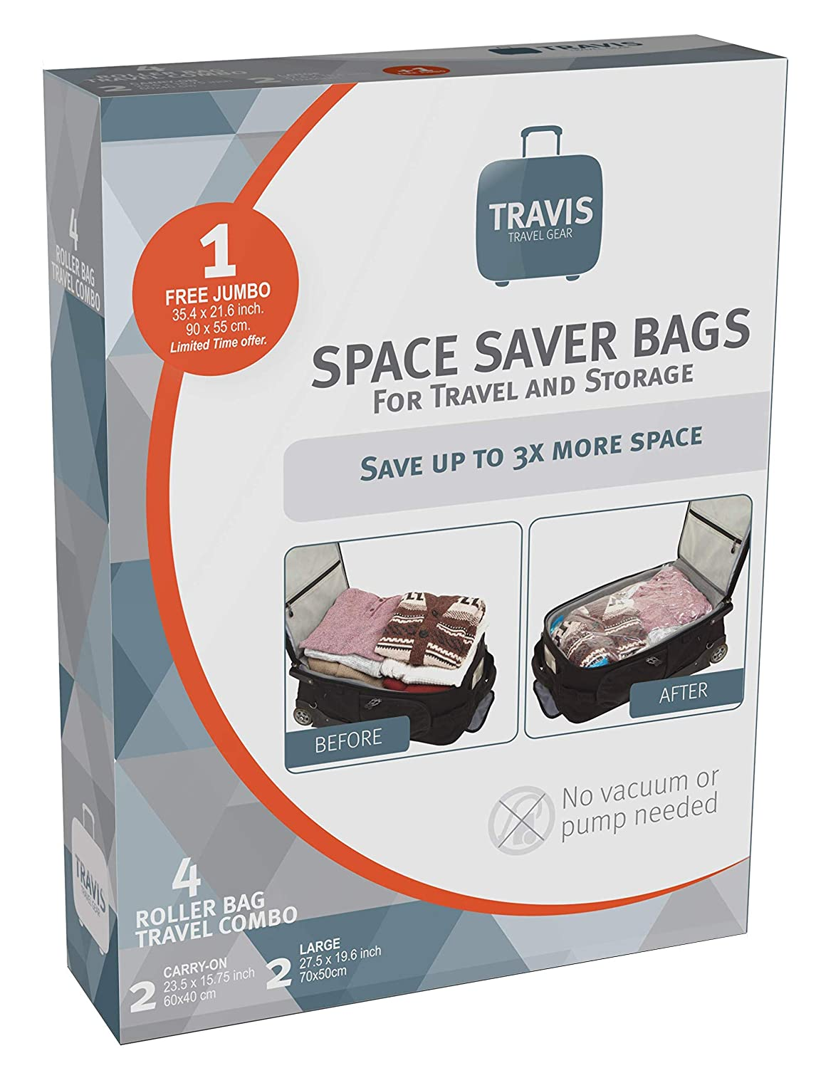 10732f8210b6 Travis Travel Gear Space Saver Bags. No Vacuum Rolling Compression, Multi  Size Pack of 5